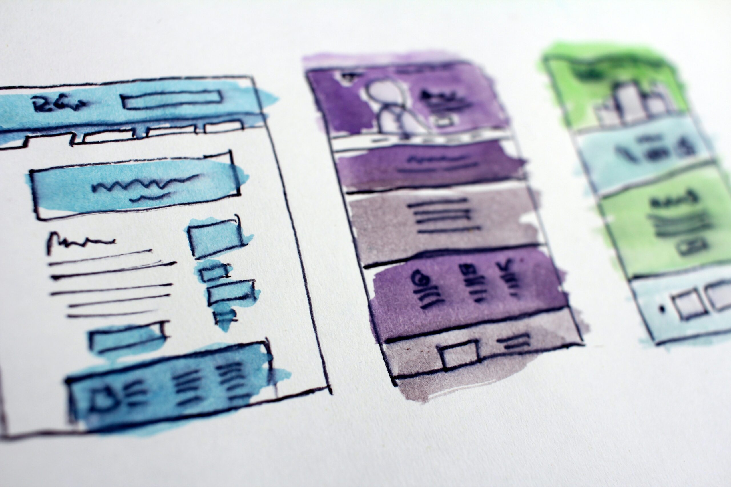 Landing page wire frames